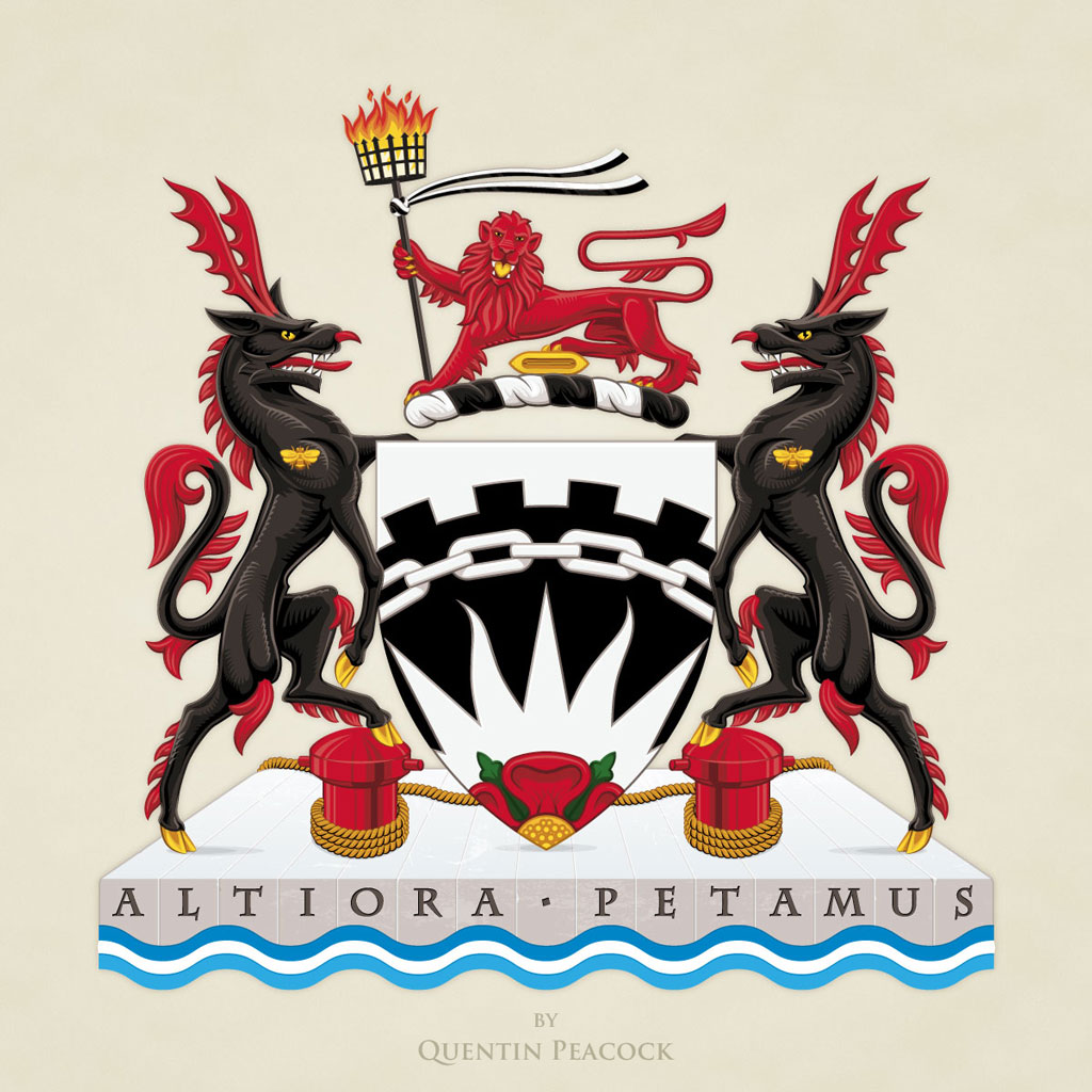 The University of Salford Arms illustrated by Quentin Peacock