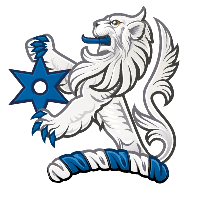 A crest with demi lion Argent grasping  a mullet of six points pierced Azure illustrated by Quentin Peacock - Digital Heraldry