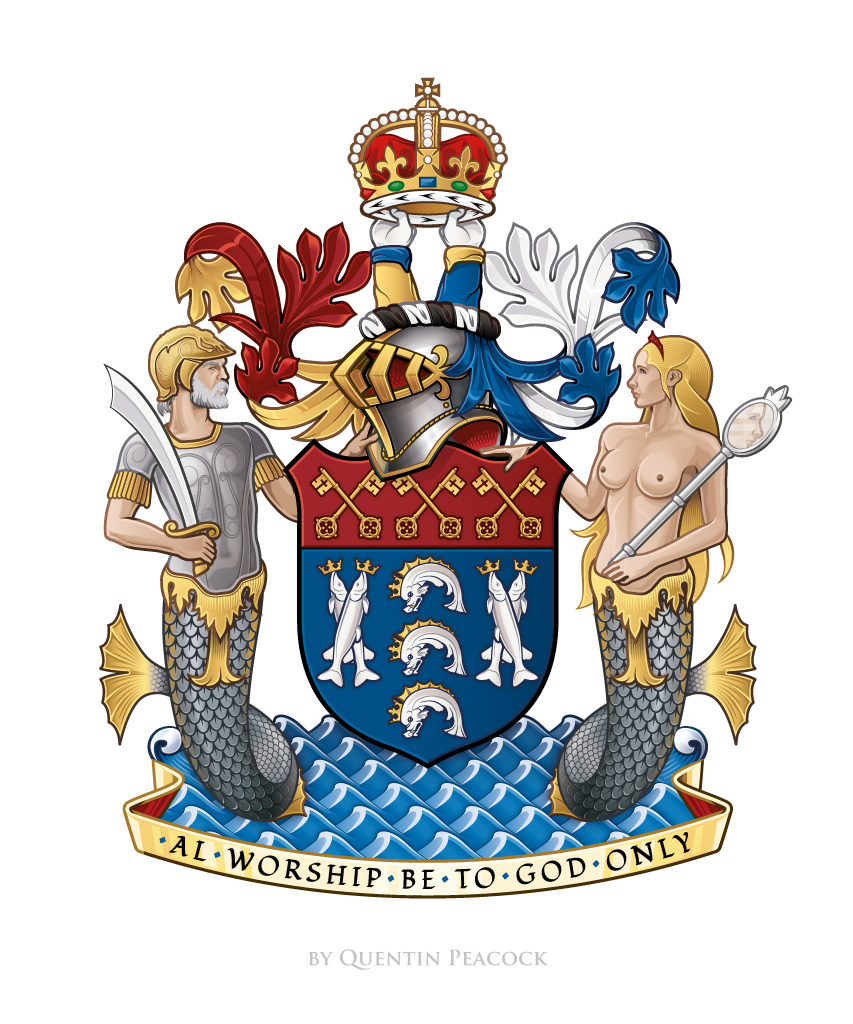 The digital illustration of the Arms of the Worshipful Company of Fishmongers